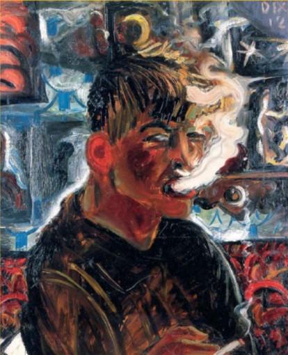 Autoportret, fumand