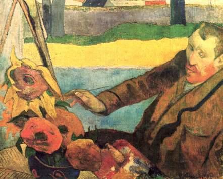 Van Gogh pictand floarea-soarelui - tablou de Gaugain